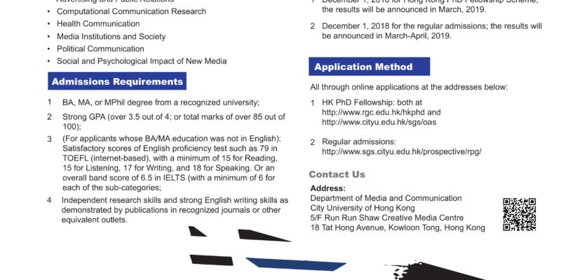 Department of Media & Communication City University of Hong Kong – 2019 Applications for PhD in Communication