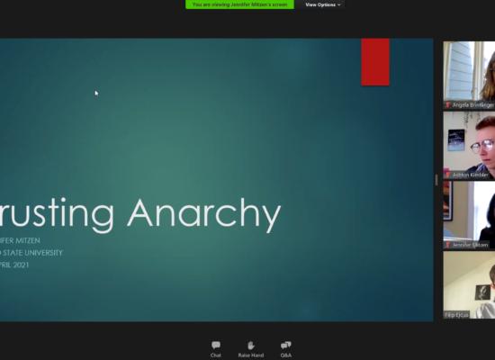 "Одржано онлајн предавање на тему ""Trusting anarchy: summits and the production of state personhood"""