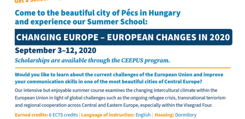 CEEPUS Scholarship opportunity to attend a summer course for free in Pécs (Hungary)